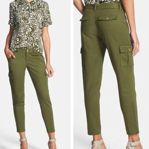 Kate Spade Cropped Slim Cargo Pants Zip Cuffs